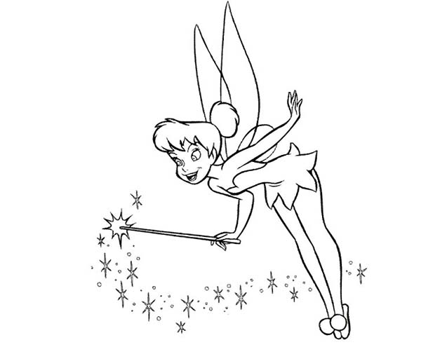 Tinkerbell Doing Magic Coloring Page