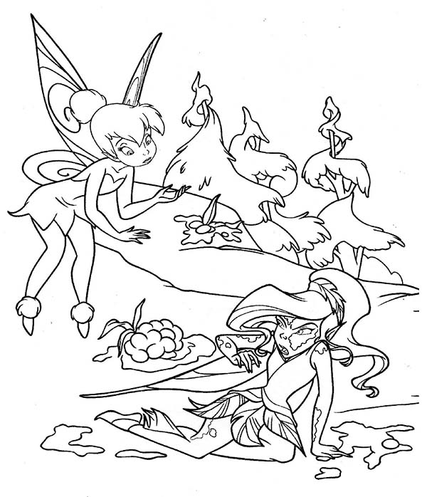 Tinkerbell Helping Silvermist Coloring Page