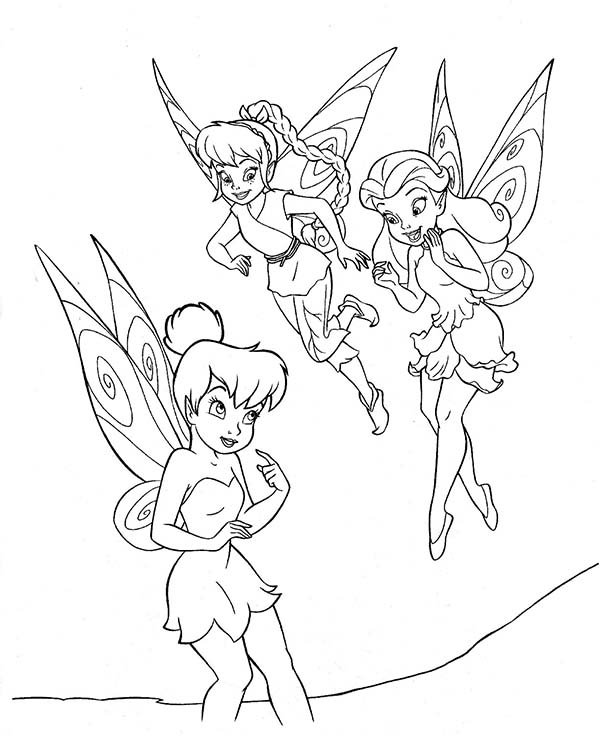 tinkerbell friends printable coloring pages | Tinkerbell and Friends Coloring Page - NetArt
