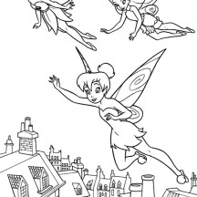 Tinkerbell and Rosetta and Fawn Coloring Page