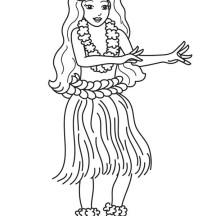 Tourist Learn Hawaiian Dance Hula Coloring Page