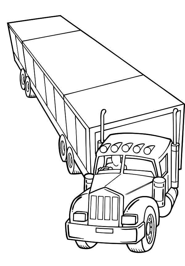 semi printable coloring pages | Trailer Semi Truck Coloring Page - NetArt