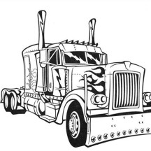 Transformer's Optimus Prime Semi Truck Coloring Page