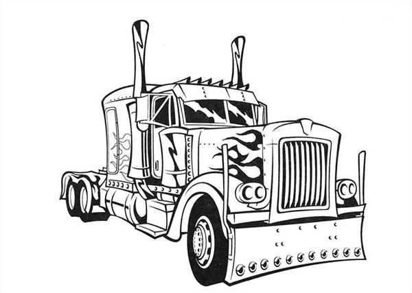 Transformer's Optimus Prime Semi Truck Coloring Page
