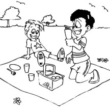 Two Kid Drink on Summer Picnic Coloring Page