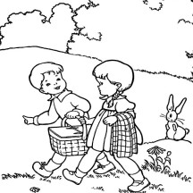 Two Kids is Going to Picnic Coloring Page