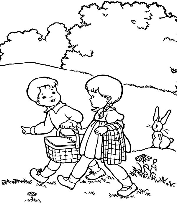 Two Kids is Going to Picnic Coloring Page NetArt
