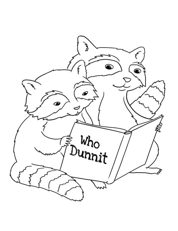 two raccoon reading book coloring page netart