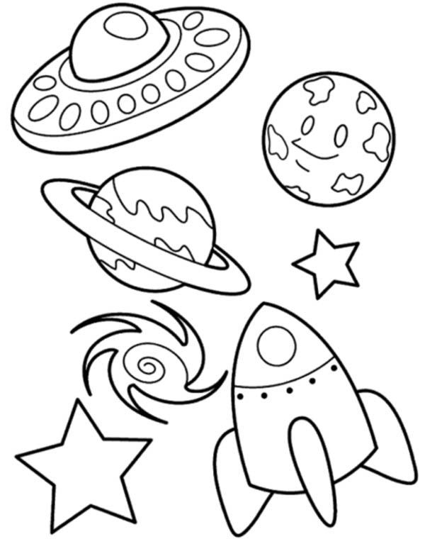 UFO Planet Galaxy and Spaceship Coloring Page