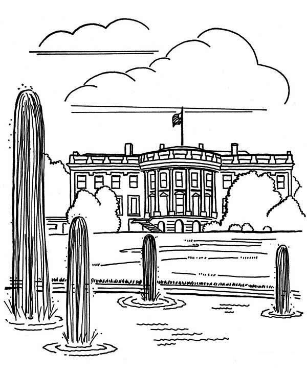 United State of America White House in Houses Coloring Page
