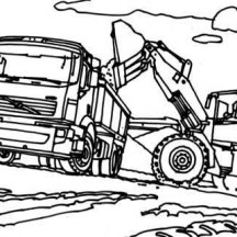 VTN Semi Truck with Tractor Coloring Page