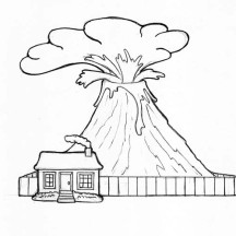 Volcano and Watch House Coloring Page