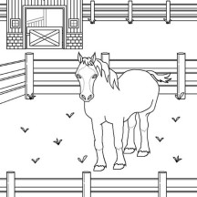 Wild Horse in the Stable in Horses Coloring Page