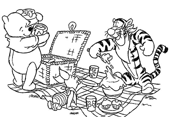 Winnie the Pooh and Friends Picnic Coloring Page