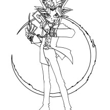 Yugi Muto Possess By Mysterious Gambler Spirit in Yu Gi Oh Coloring Page