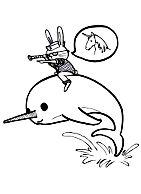 A Bunny Ride A Narwhal Coloring Page Netart