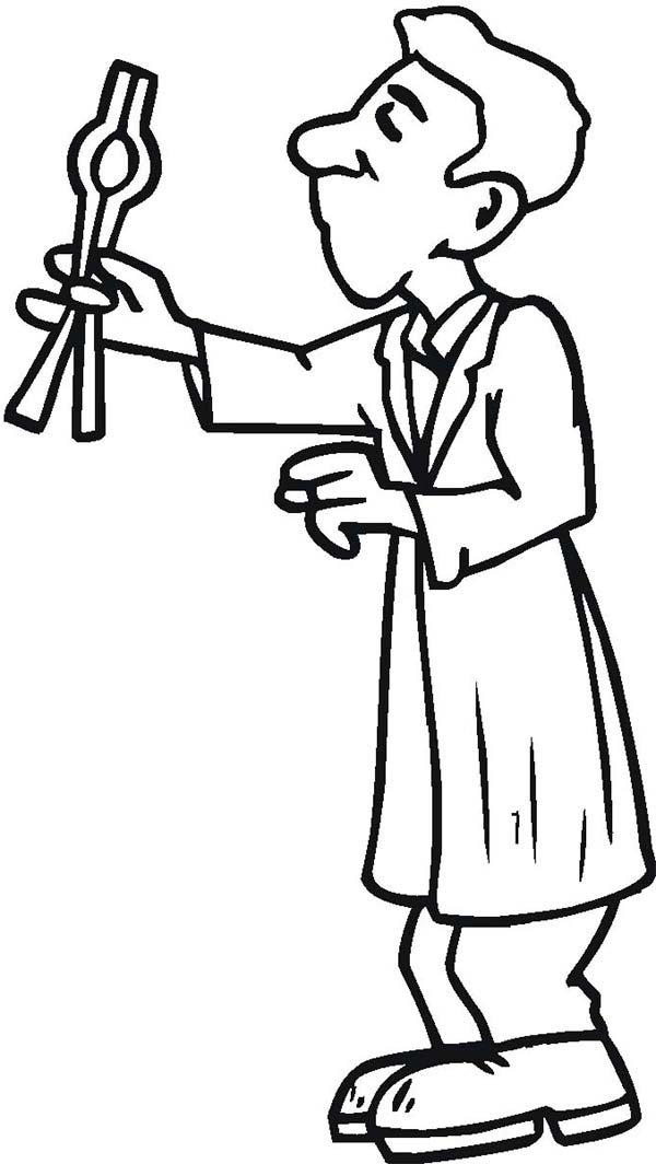 A Chemist Holding a Pliers in Community Helpers Coloring Page