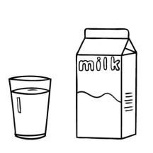 A Glass of Milk and Milk Carton Coloring Page