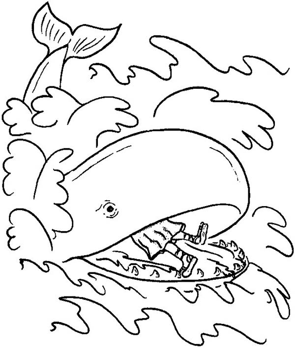 A Great Whale Swallowed Jonah Body in Jonah and the Whale Coloring ...