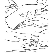 A Great Whale Swallowed Jonah in Jonah and the Whale Coloring Page