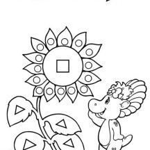 A Hippo Playing with Shapes Coloring Page