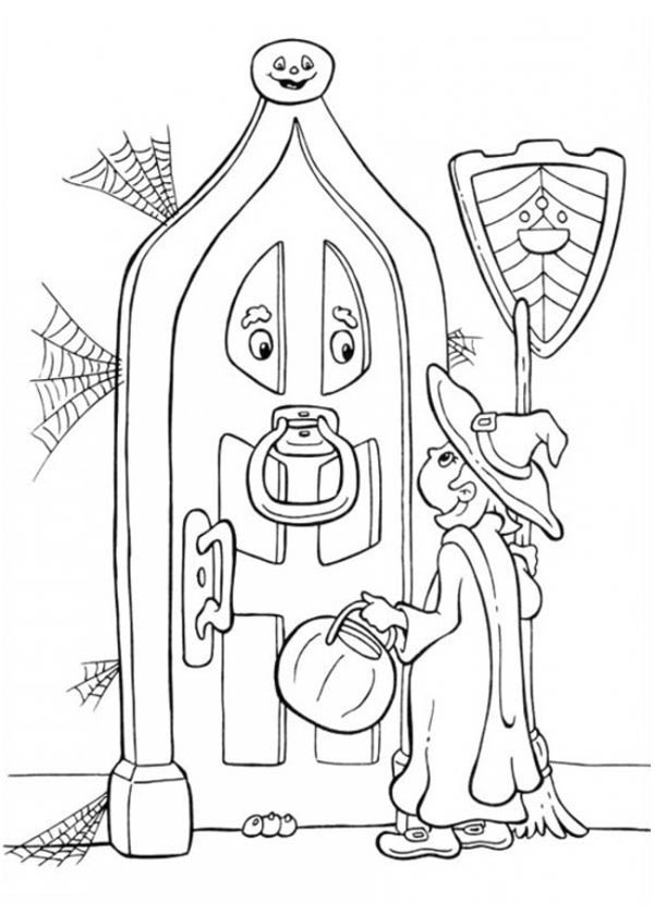 A Little Girl Knocking on Two Eyed Door in Funschool Halloween Coloring Page