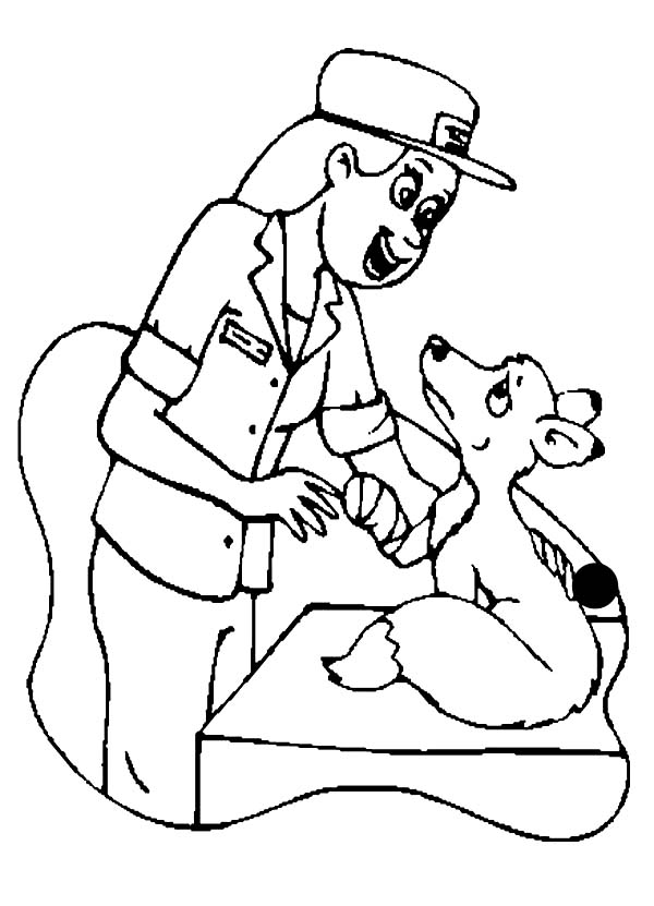 A Veterinarian Checking a Weasel in Community Helpers Coloring Page
