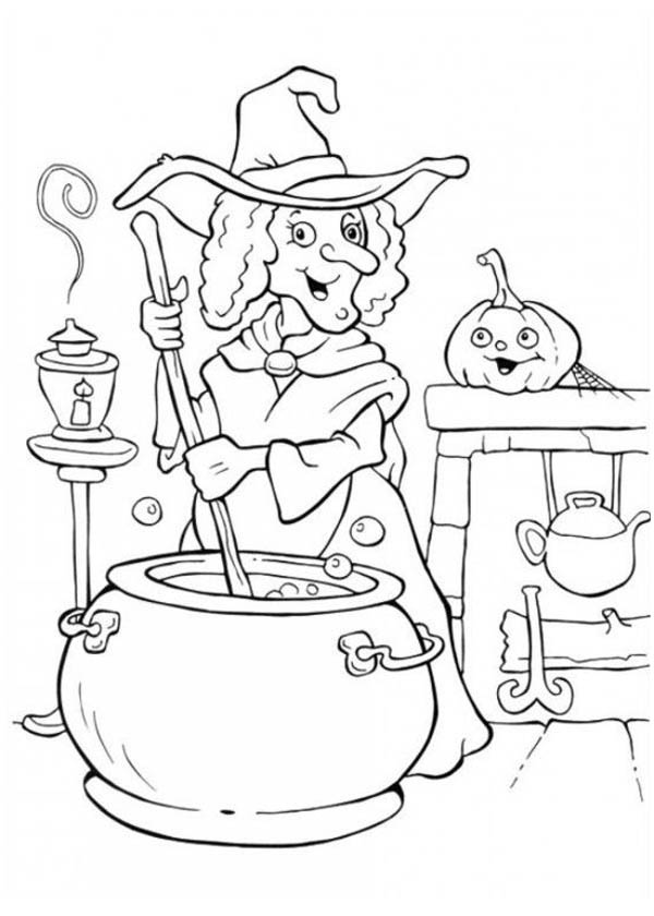 A Witch Cooking Potion in Funschool Halloween Coloring ...