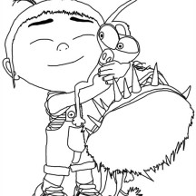 Agnes Hugging Grus Dog Despicable Me Coloring Page