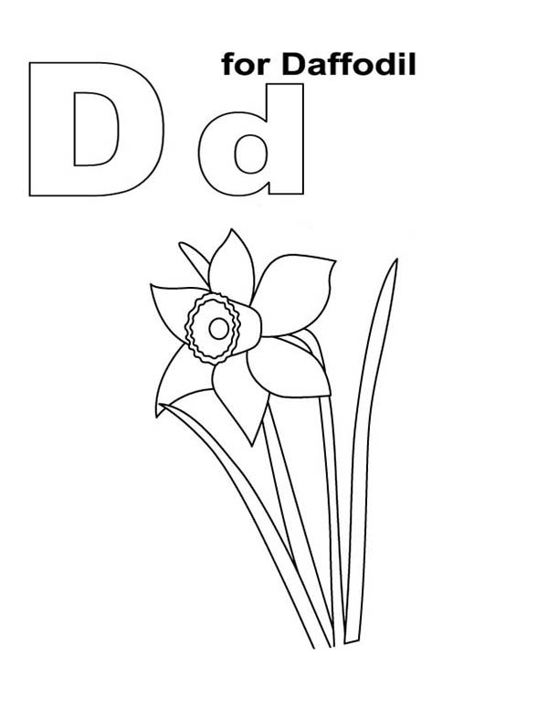 Alphabet D is for Daffodil Coloring