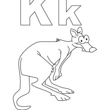 Alphabet K is  for Kangaroo Coloring Page