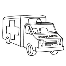 An Ambulance Car in Community Helpers Coloring Page
