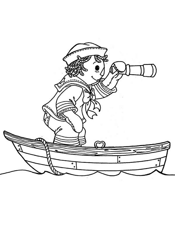 Andy Using Telescope on Boat in Raggedy Ann and Andy Coloring Page ...