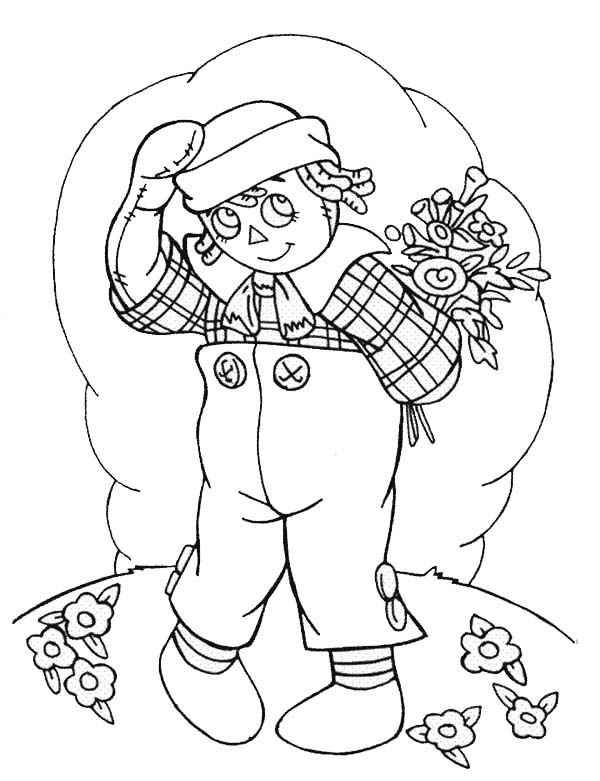 Andy and Flower Bouquet in Raggedy Ann and Andy Coloring Page