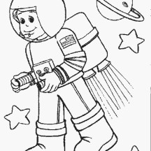 Astronout in Space in Community Helpers Coloring Page