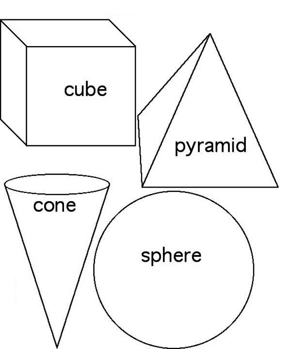 Awesome 3D Basic Shapes Coloring Page