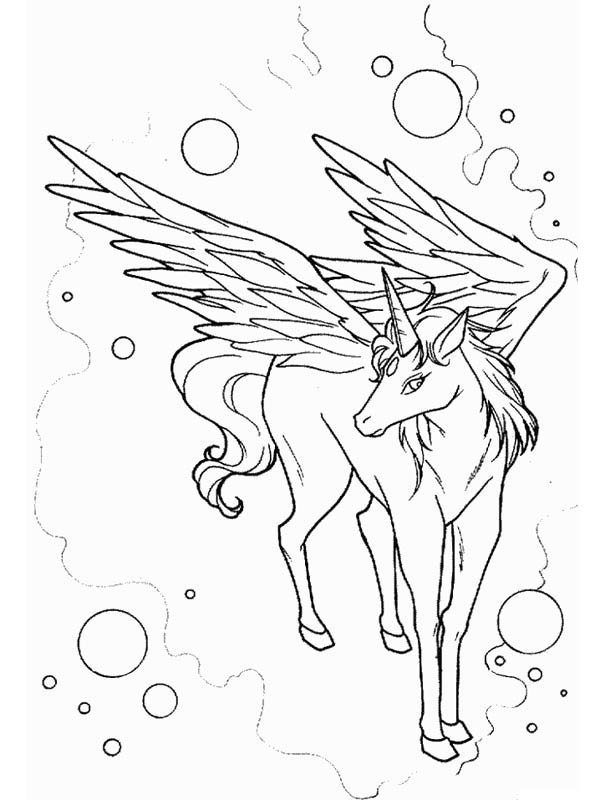 Awesome Drawing of Pegasus Coloring Page