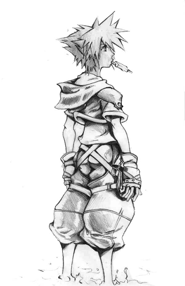 Awesome Drawing of Sora Coloring Page