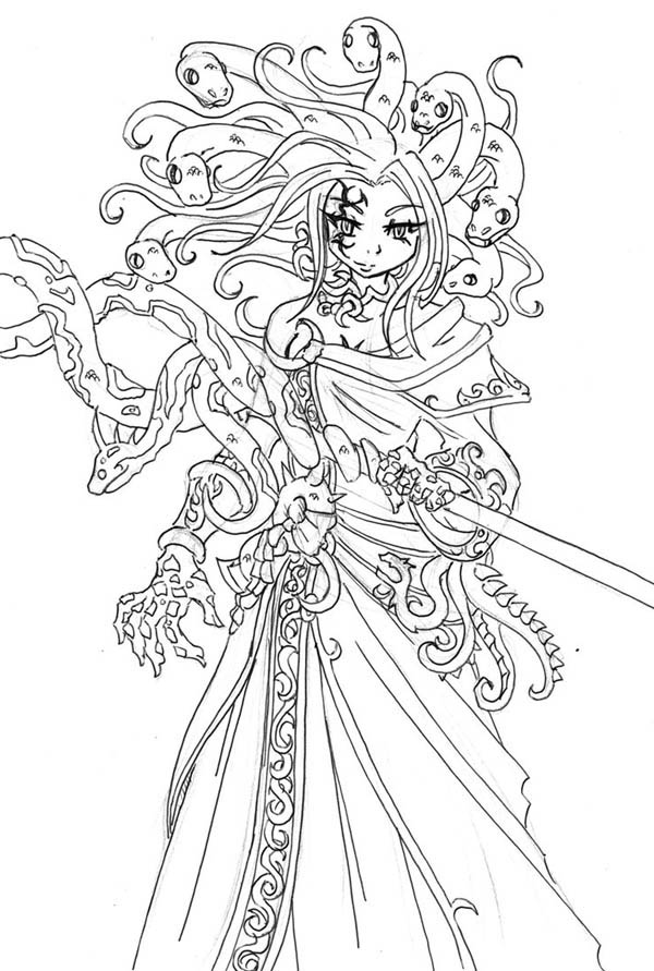Awesome Medusa Drawing Coloring Page