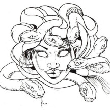 Awesome Medusa Snake Hair Coloring Page