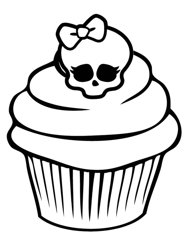 Awesome Skull Cupcake Coloring Page