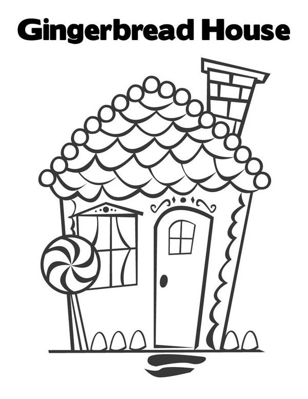 Beautiful Gingerbread House Coloring Page