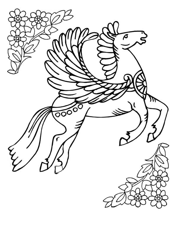 Beautiful Pegasus Picture Coloring Page