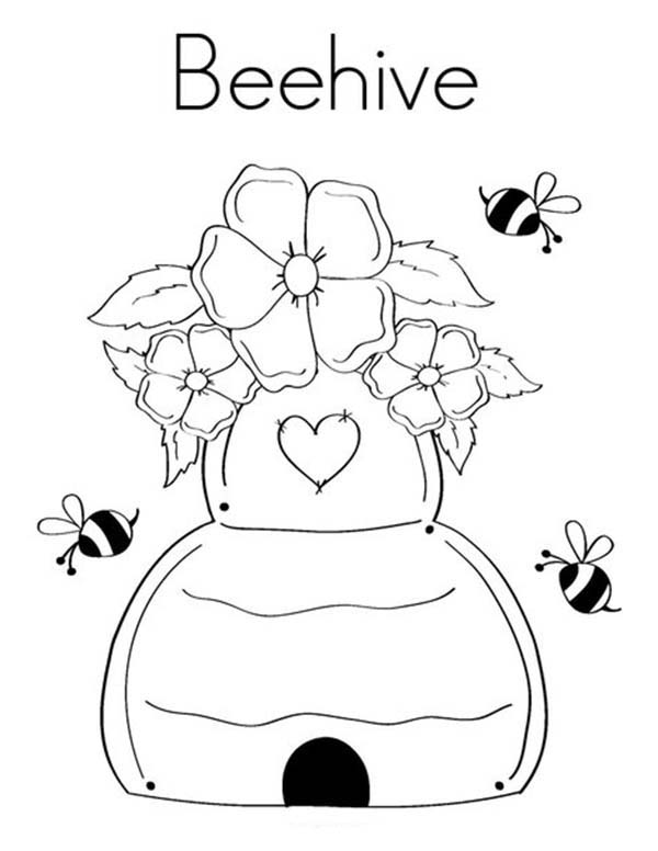 Beehive Decorated with Flower Coloring Page