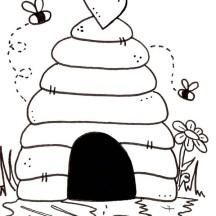 Beehive is House of Bees Coloring Page