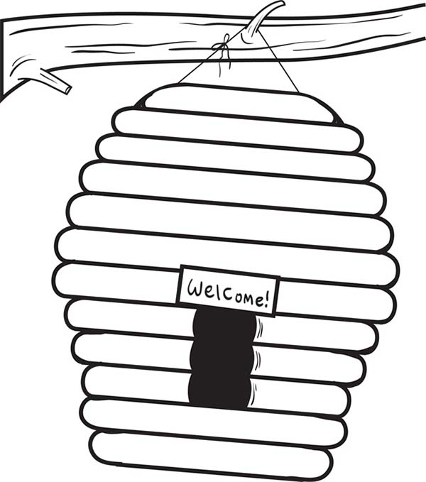 Beehive with Welcome Sign Coloring Page
