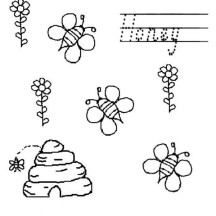 Bees Make Honey from Flower in Beehive Coloring Page
