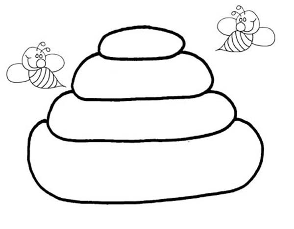 Bees and Their Beehive Coloring Page