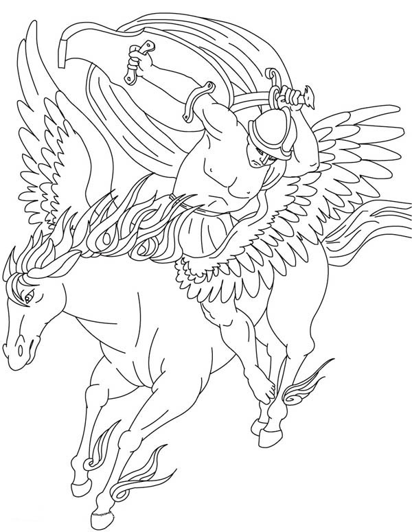 Bellerophon on His Pegasus Coloring Page