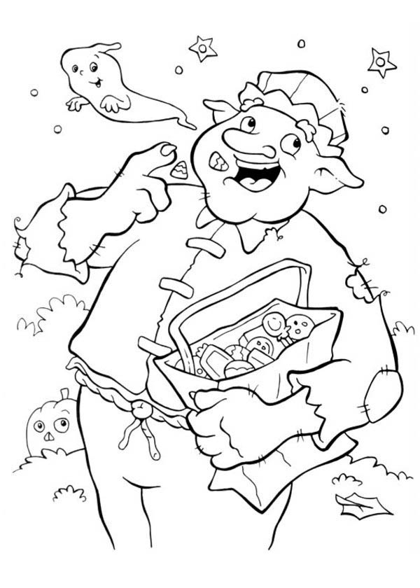 Big Creepy Man Eating Candy in Funschool Halloween Coloring Page